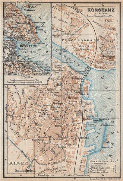 Associate Product CONSTANCE. KONSTANZ. town city stadtplan. Germany karte. BAEDEKER 1938 old map