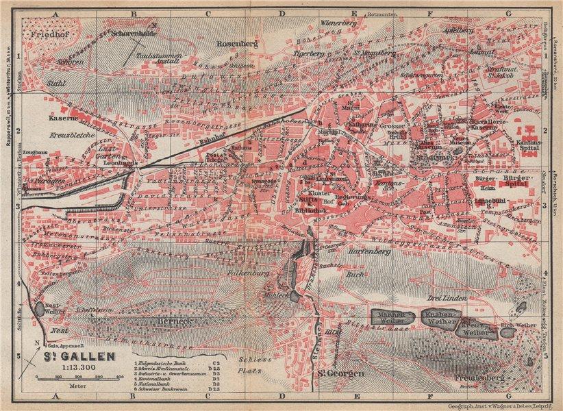 Associate Product ST. GALLEN. town city stadtplan. Switzerland Suisse Schweiz. BAEDEKER 1938 map