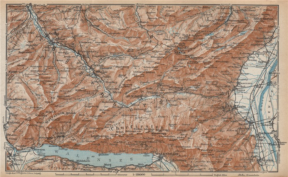 Associate Product THUR VALLEY.Säntis Toggenburg Wildhaus Alt St Johann Unterwasser Grabs 1938 map