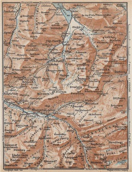Associate Product MUOTATHAL PRAGEL & SIHLTAL. Silbern Liedernen (Kaiserstock) Iberg 1938 old map