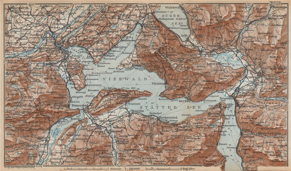 Associate Product LAKE LUCERNE Vierwaldstättersee. Luzern Stans Weggis Brunnen Schwyz 1938 map