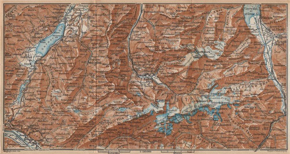 Associate Product ENGELBERG ENVIRONS. Uri/Urner Alps Titlis Blackenstock Sarnen Altorf 1938 map