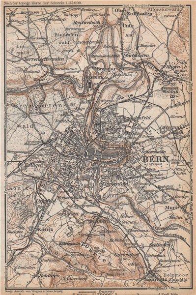 Associate Product BERN BERNE ENVIRONS. Switzerland Suisse Schweiz carte karte. BAEDEKER 1938 map