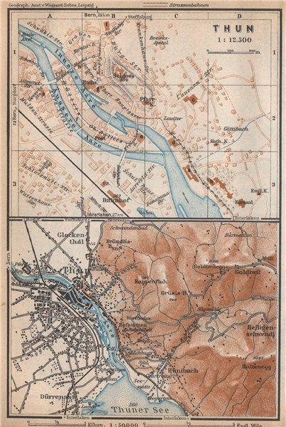 Associate Product THUN / THOUNE. town city stadtplan. Switzerland Suisse Schweiz 1938 old map