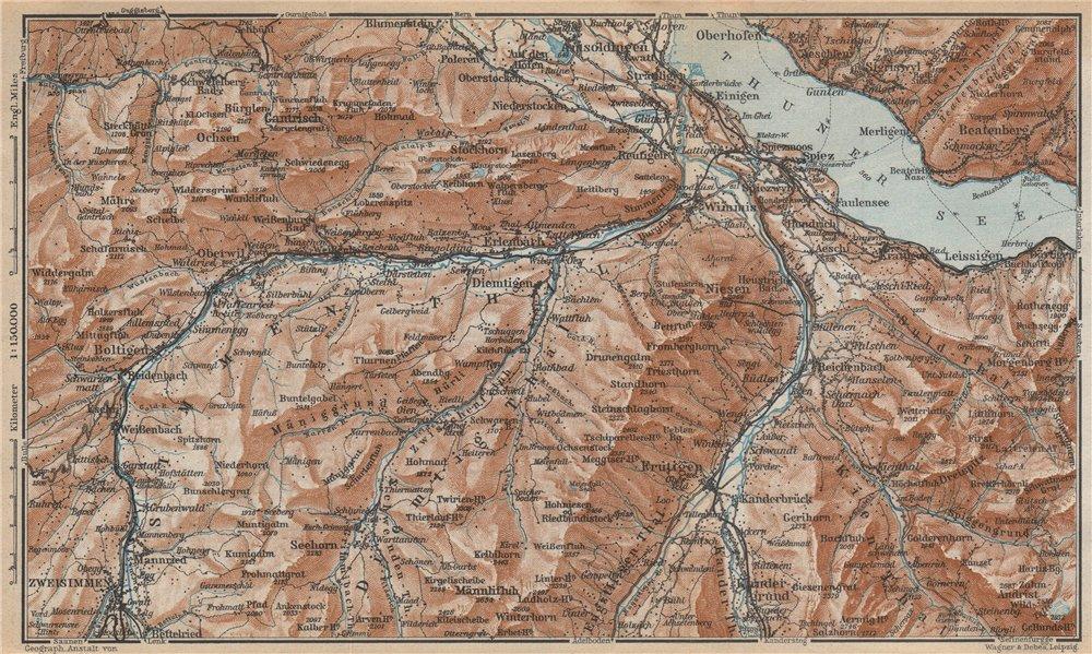 Associate Product THUNER SEE. SIMME/KANDER VALLEYS. Gantrisch Spiez Frutigen Oberwil 1938 map