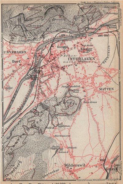 Associate Product INTERLAKEN ENVIRONS. Unterseen Matten Aarmuhle Wilderswyl. Schweiz 1938 map