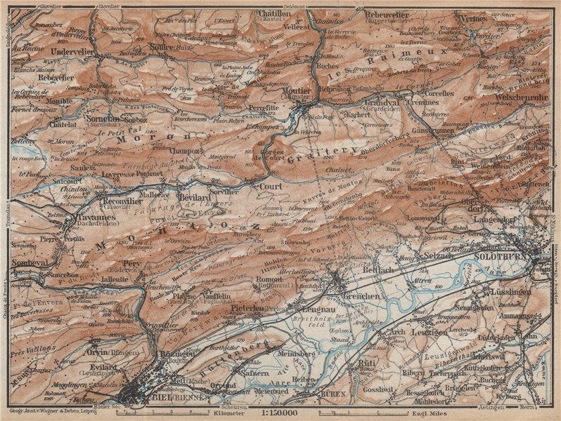 Associate Product BERNESE JURA. Solothurn Biel/Bienne Rebeuvelier Tavannes. Topo-map 1938