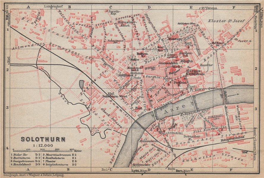 SOLEURE / SOLOTHURN. town city stadtplan. Switzerland Suisse Schweiz 1938 map