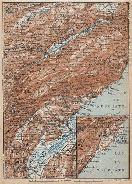 Associate Product JURA. Val-de-Travers Orbe Noiraigue Yverdon Grandson Môtiers Buttes 1938 map