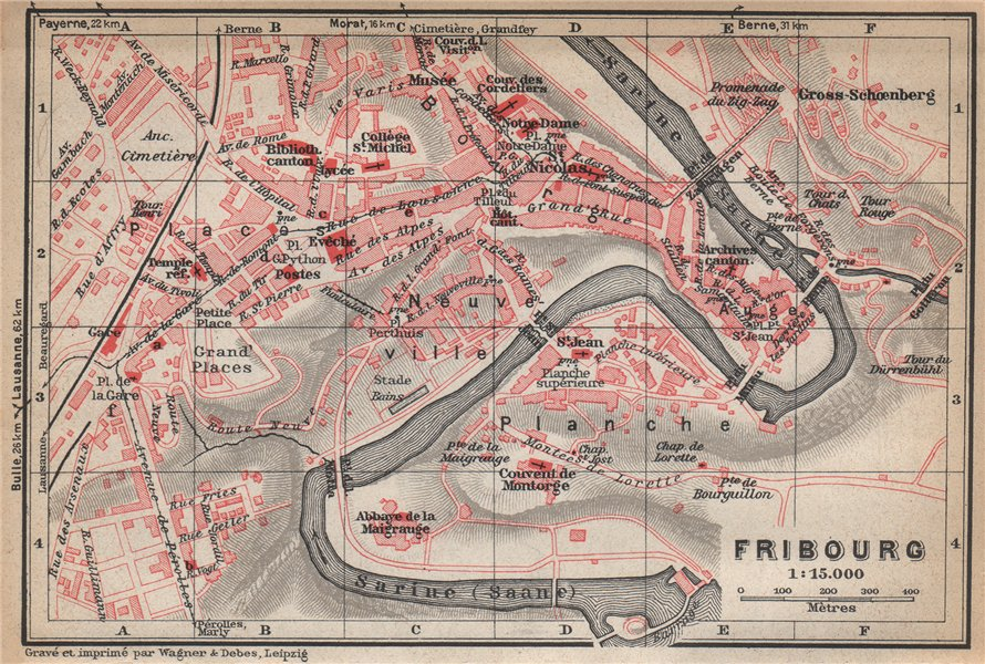Associate Product FREIBURG / FRIBOURG. town city stadtplan. Switzerland Suisse Schweiz 1938 map