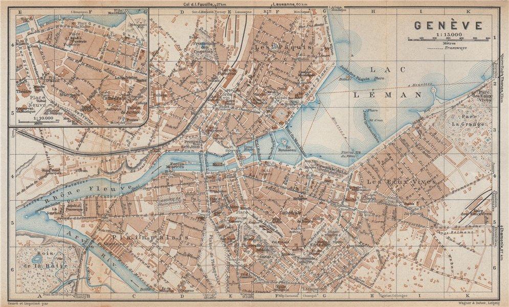 GENEVA GENÈVE GENF. town city stadtplan. Switzerland Suisse Schweiz 1938 map