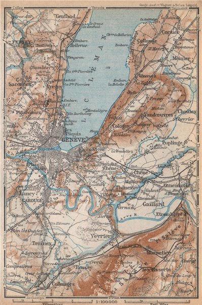 Associate Product GENEVA GENÈVE GENF ENVIRONS. Switzerland Suisse Schweiz carte karte 1938 map
