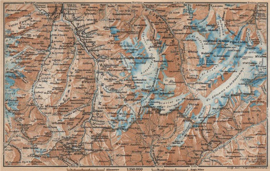 Associate Product GRAND ST BERNARD ENVIRONS Arolla Grand Combin Massif Orsières Mt Velan 1938 map