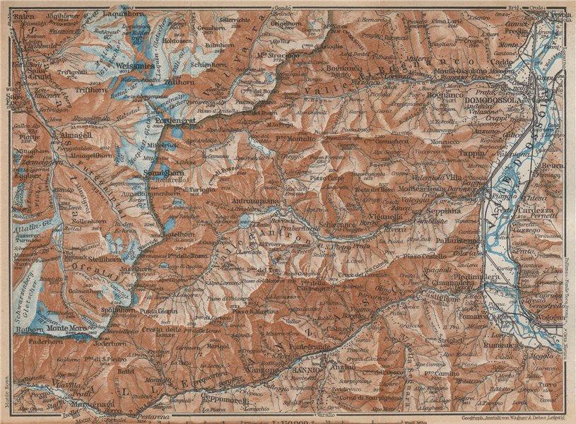 Associate Product VALLE ANTRONA. Saas-Fee/Grund/Almagell Bannio Weissmies Domodossola 1938 map