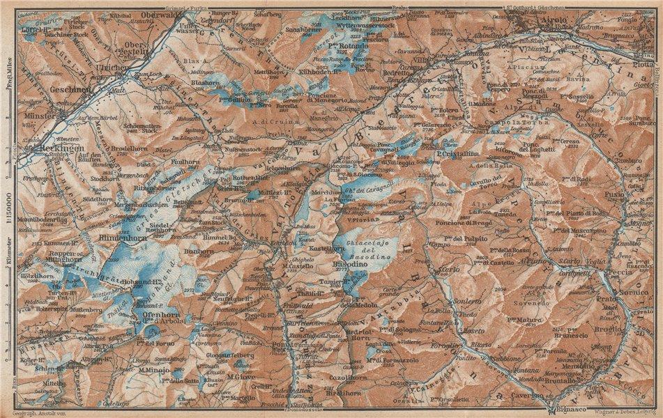 Associate Product GRIES PASS & NW TICINO ALPS. Val Bedretto Airolo Basodino Ofenhorn 1938 map