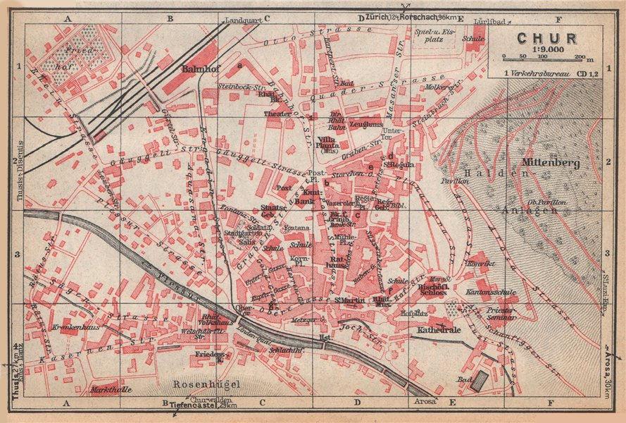 Associate Product COIRE / CHUR. Chur. town city stadtplan. Switzerland Suisse Schweiz 1938 map
