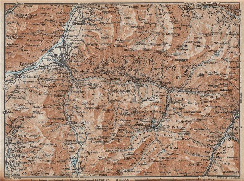 Associate Product COIRE/CHUR SCHANFIGG AROSA ENVIRONS. Davos Klosters Lenzheide Trimnns 1938 map