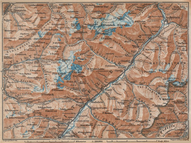 Associate Product MIDDLE ENGADINE VALLEY. Samedan-Zernez. Zuoz Livigno Albula Alps 1938 old map