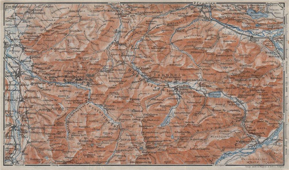 NORTH ALLGÄU &  TANNHEIM ALPS. Hindelang Sonthofen Pfronten Tannheim 1923 map