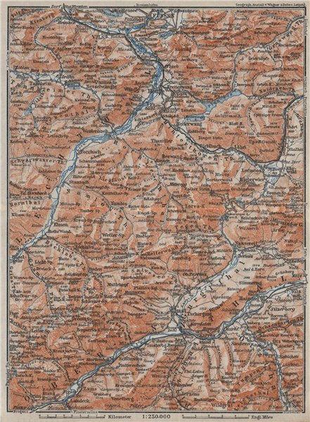 Associate Product Ammergauer & Lechtaler Alpen. Oberinntal. Fussen Imst Reutte. Tirol 1923 map
