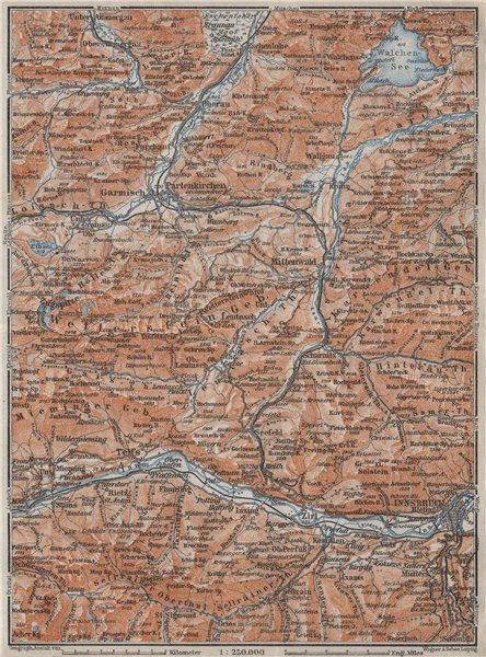 Associate Product WETTERSTEIN Garmisch-Partenkirchen Innsbruck Inntal Mittenwald Oberau 1923 map
