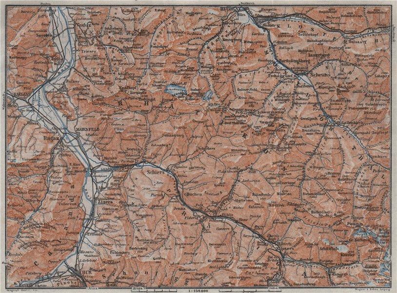 Associate Product RÄTIKON. Bad Ragaz Montafon Prättigau Klosters Blundenz Schruns Chur 1923 map