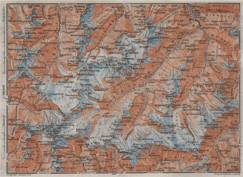 Associate Product UPPER ÖTZTAL Solden Obergurgl Wildspitze Tyrol Tirol topo-map. Austria 1923