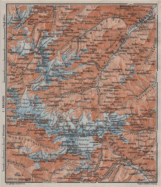 STUBAI ALPS Stubaier Alpen. Neustift im Stubaital Tirol Tyrol topo-map 1923