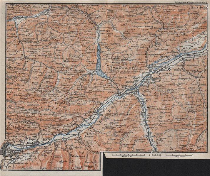Associate Product Tiroler Unterland. Unterinntal. Inn valley. Innsbruck Tyrol Jenbach 1923 map
