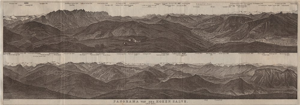 Associate Product PANORAMA from/vom HOHEN SALVE. Kitzbühler Alpen Tirol Österreich karte 1923 map