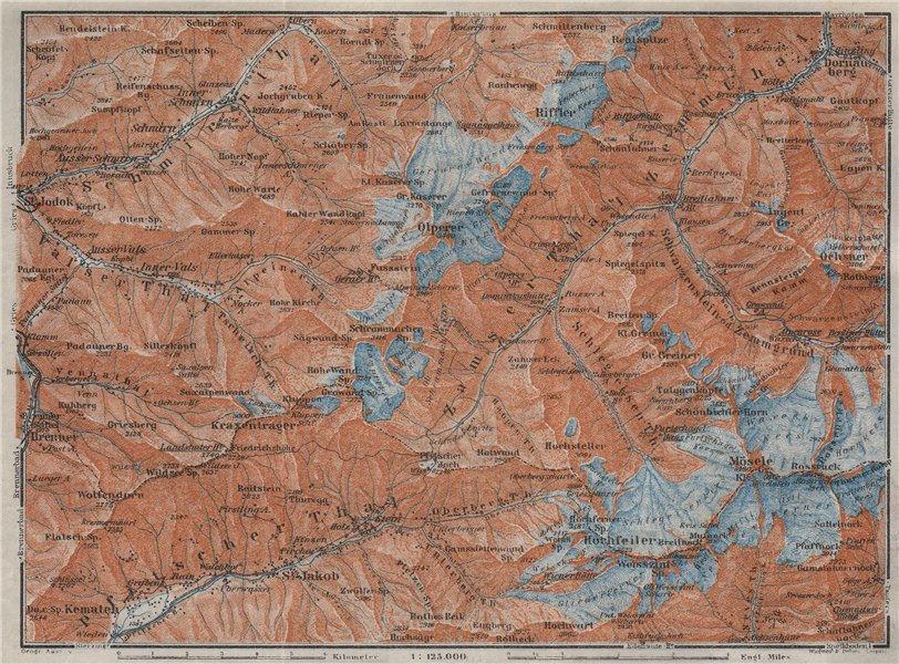 Associate Product WESTERN ZILLERTAL Pfitscher Tal St Jodok Olperer Zillertaler Alpe 1923 old map