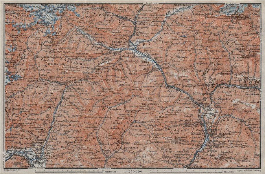 Associate Product STERZING & BRIXEN environs Wipptal Vipiteno Bressanone Merano Südtirol 1923 map