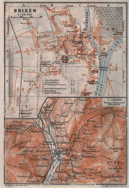 Associate Product BRIXEN / BRESSANONE town city plan & environs. Südtirol Italy Italia 1923 map