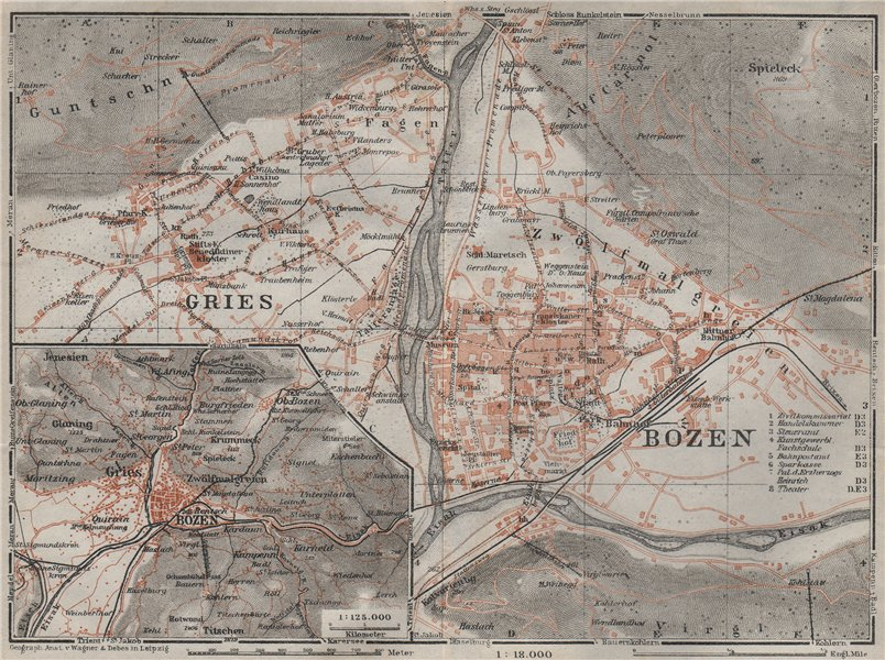 Associate Product BOLZANO (BOZEN) environs. Gries. town city plan. Italy mappa. BAEDEKER 1923