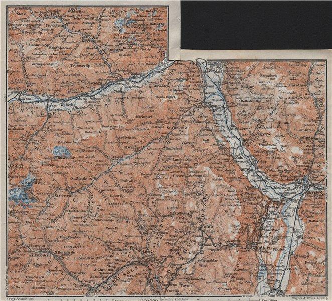 Associate Product VINTSCHGAU ADIGE/ETSCH Ultental valleys. Bozen/Bolzano Merano Südtirol 1923 map
