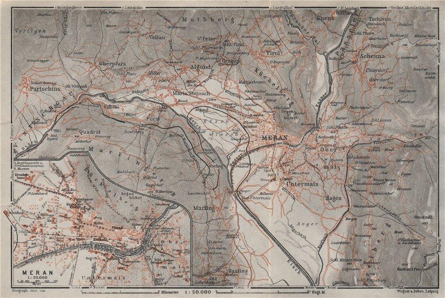 Associate Product MERANO / MERAN environs Scena Plars di Sopra Marlengo Lagundo Parcines 1923 map