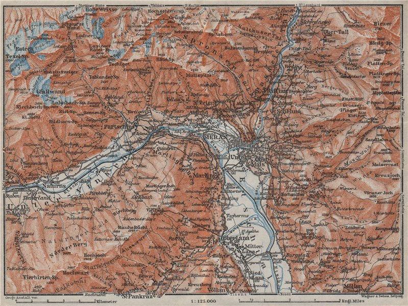 Associate Product MERANO MERAN environs Texelgruppe Gruppo Tessa Ötztaler Alpen Südtirol 1923 map