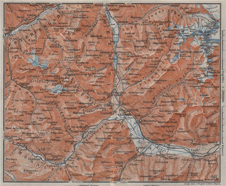UPPER/OBERVINTSCHGAU. Val Venosta. Glurns Glorenza Laas Graun Südtirol 1923 map
