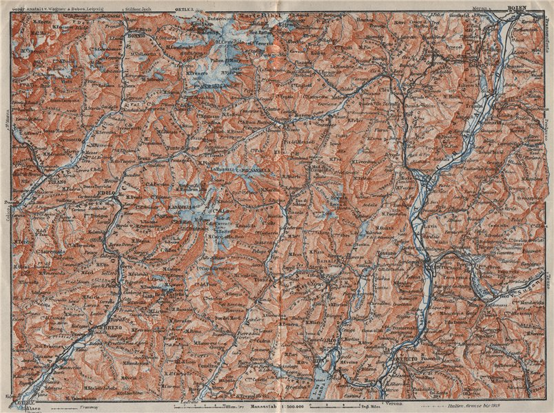 ADAMELLO BRENTA. ORTLER ALPEN. Dolomiti. Bolzano Tirano Bormio Trento 1923 map