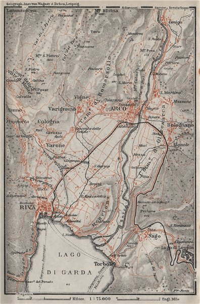 Associate Product ARCO & RIVA DEL GARDA environs. Trento, Italy Italia. Bolognano mappa 1923