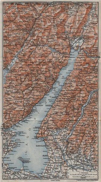 Associate Product LAGO DI/LAKE GUARDA. Riva Salo Gargnano Bardolino. Topo-map. Italy 1923