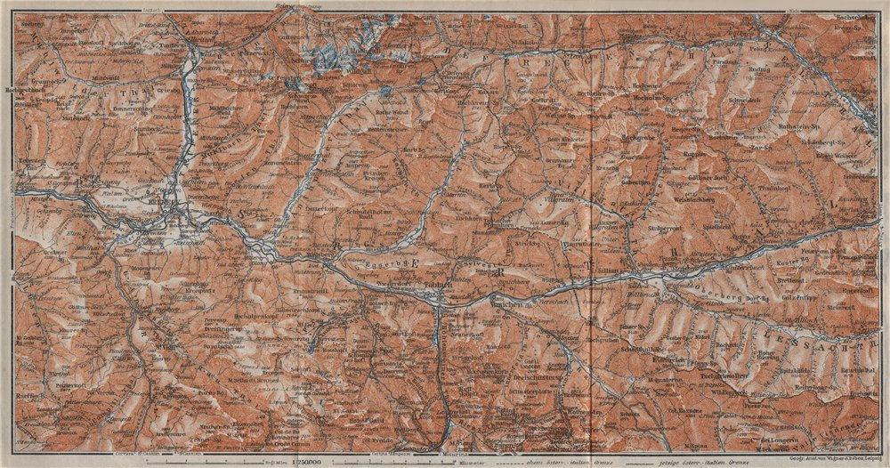 Associate Product PUSTERTAL Bruneck Fanes-Sennes-Braies Tre Cime Rieserferner-Ahrn Sesto 1923 map