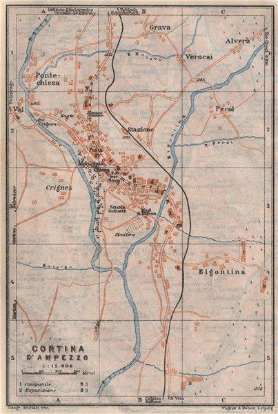 Associate Product CORTINA D'AMPEZZO vintage town city plan. Veneto, Italy Italia mappa 1923