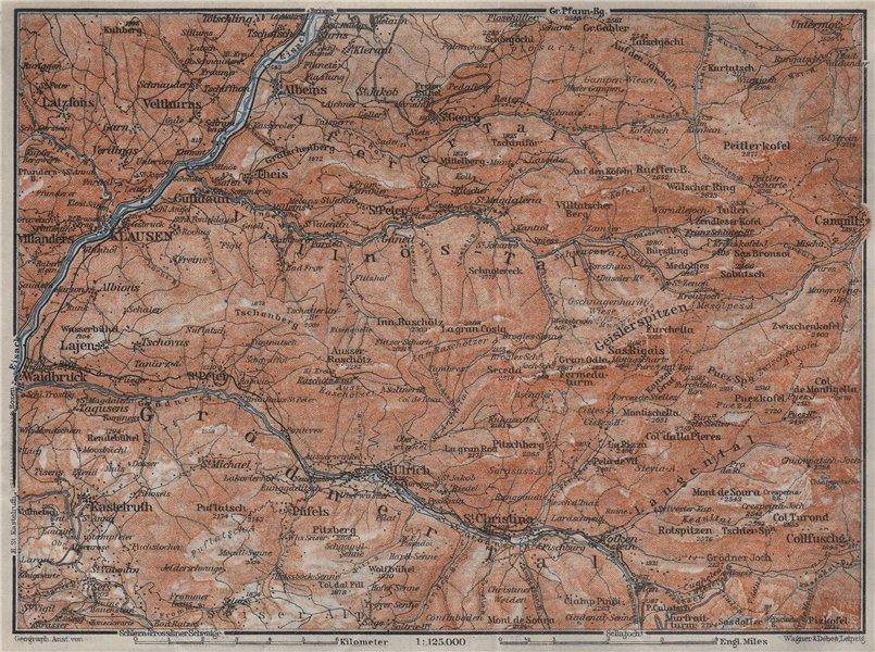 Associate Product VAL GARDENA/GRÖDEN Klausen/Chiusa St Ulrich S Christina Selva Südtirol 1923 map