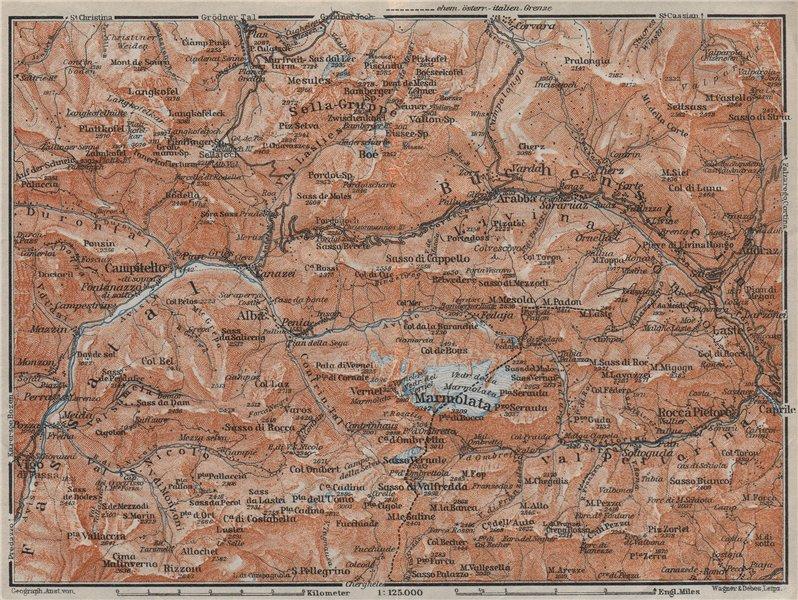 Associate Product LADIN VALLEYS. Marmolada Arabba/Rèba Fascia Fodóm Mëisules Ciampedèl 1923 map
