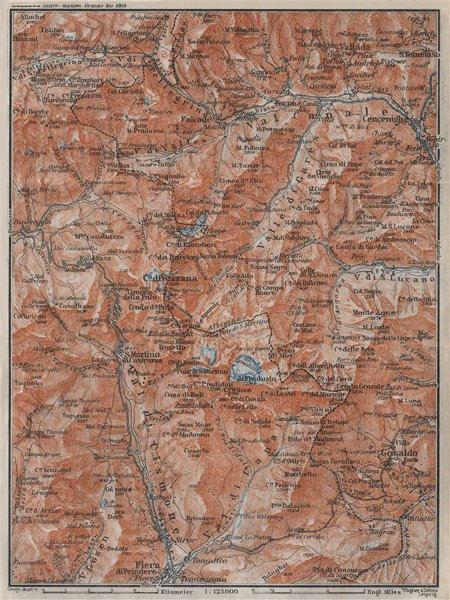 Associate Product SAN MARTINO DI CASTROZZA. Paneveggio Trentino Fiero di Primero Gosaldo 1923 map
