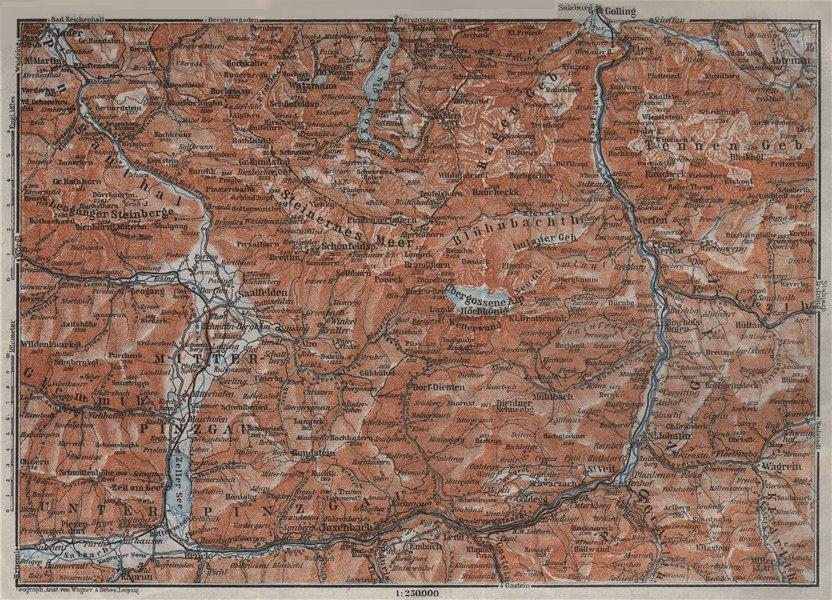 Associate Product BERCHTESGADENER ALPEN Pinzgau Pongau Taxenback Königssee Zell am See 1923 map