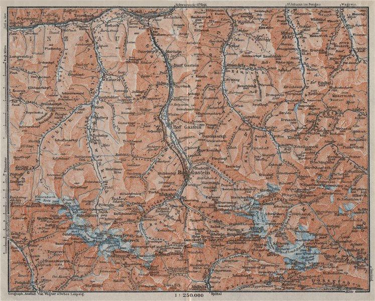 Associate Product HOHE TAUERN & GASTEINER TAL Ankogelgruppe Goldberggruppe Bad Gastein 1923 map
