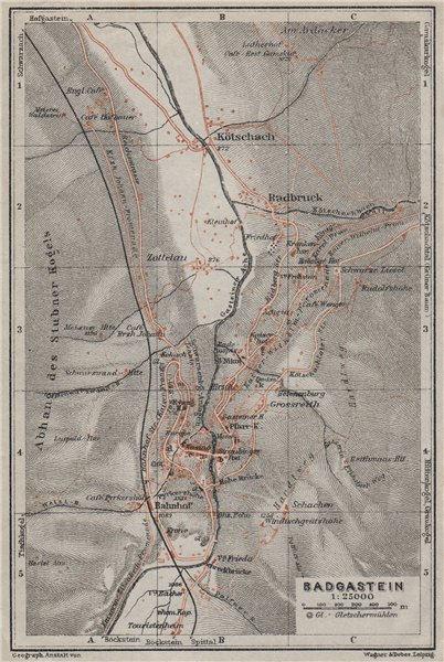 Associate Product WILDBAD/BAD GASTEIN town plan stadtplan & environs. Austria Österreich 1923 map