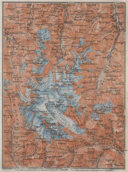 Associate Product GLOCKNERGRUPPE Grossglockner topo-map. Austria Österreich karte 1923 old